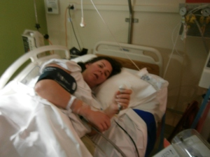 This is what it looks like after 23 hours of contractions, a failed epidural and an infection
