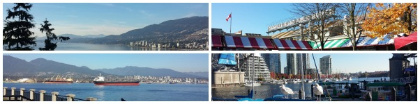 View from Stanley Park (L) and Granville Island and its killer seagulls (R)